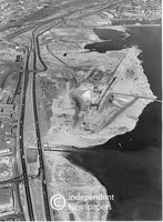 Aerial view, reclamation for Table Bay docks expansion, 1973