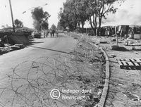 Barbed wire separating Nyanga from Crossroads, Cape Town