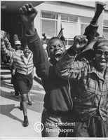 Youths saluting, Cape Town