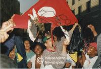 A mock AWB flag burnt, Cape Town