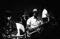 Jazz band members, Mongezi Feza, Louis Moholo, Dudu Pukwana and Sammy Maritz, Johannesburg, South Africa