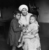 Woman with her children, Genadendal, South Africa