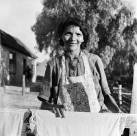 Portrait of a woman wearing an apron, Genadendal, South Africa