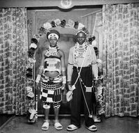 Studio portrait of Zulu couple