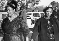 Two women dressed in their Sunday best, Eastern Cape, South Africa