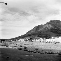 District Six neighbourhood, set against the mountain backdrop, Cape Town, South Africa