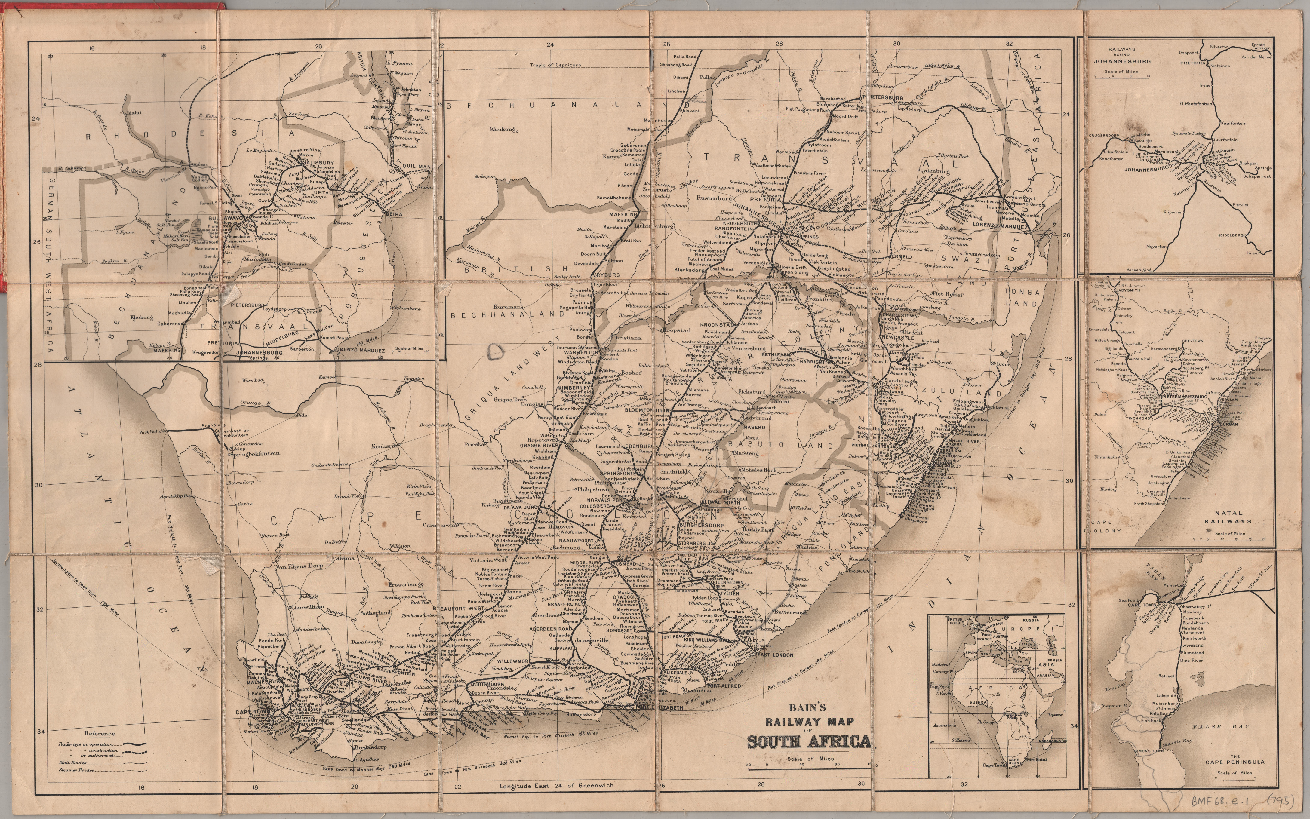 Bains railway map of south africa uct libraries digital collections bains railway map of south africa gumiabroncs Images