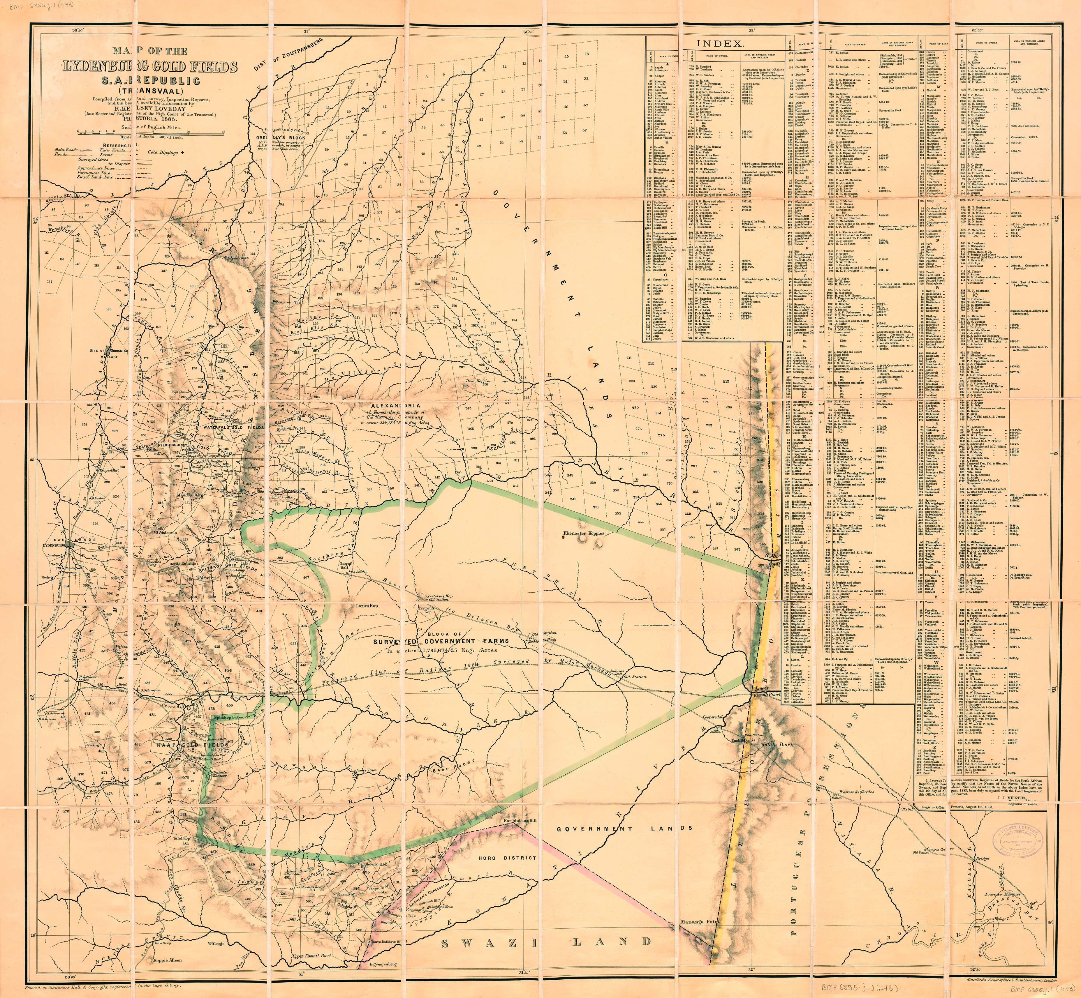 Map of the Lydenburg gold fields, S.A. Republic (Transvaal) | UCT