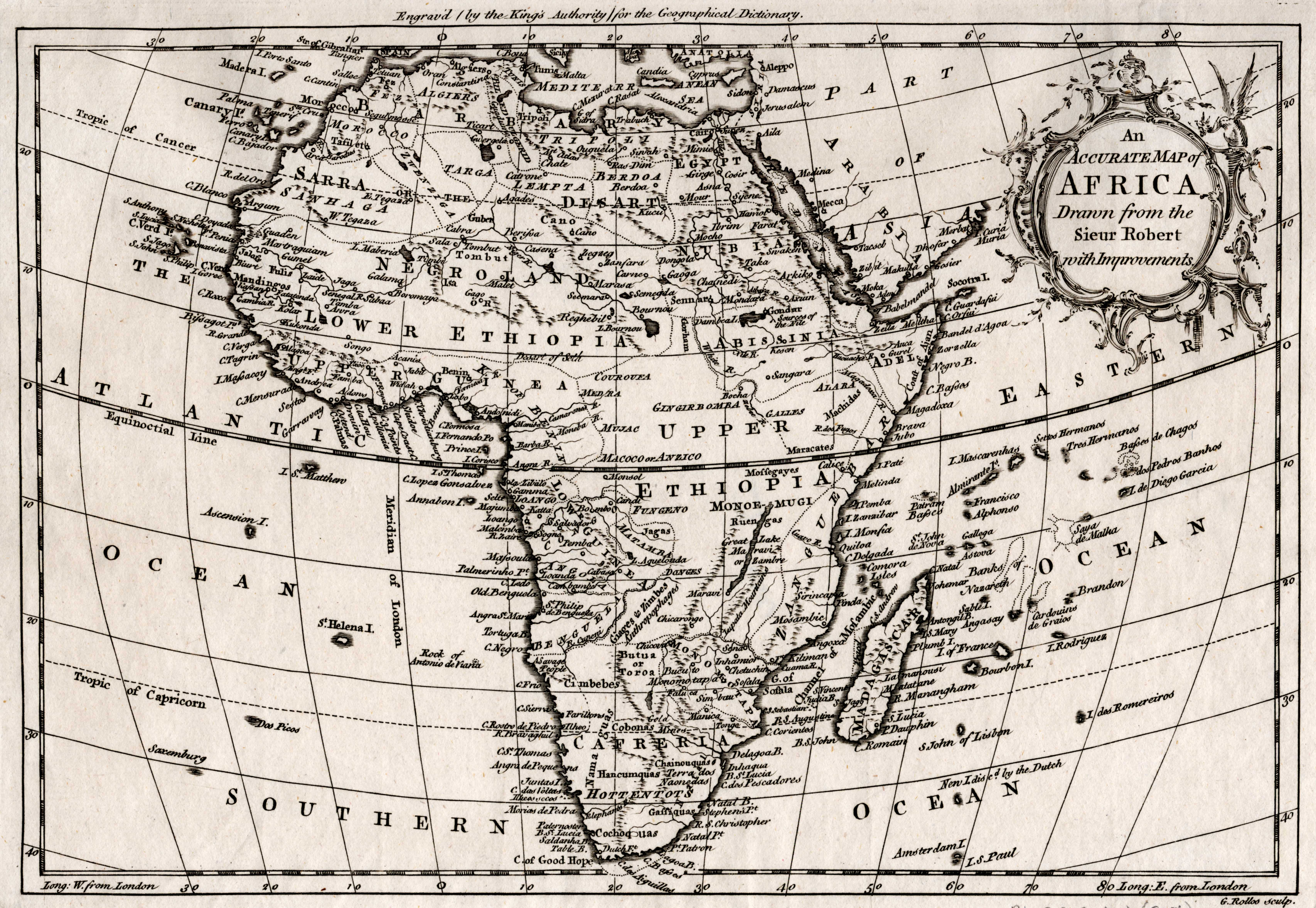 Accurate Map Of Africa.An Accurate Map Of Africa Drawn From The Sieur Robert With