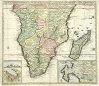 Carte de l'Afrique méridionale au pays entre la ligne Cap de Bonne Espérance et l'Isle de Madagascar