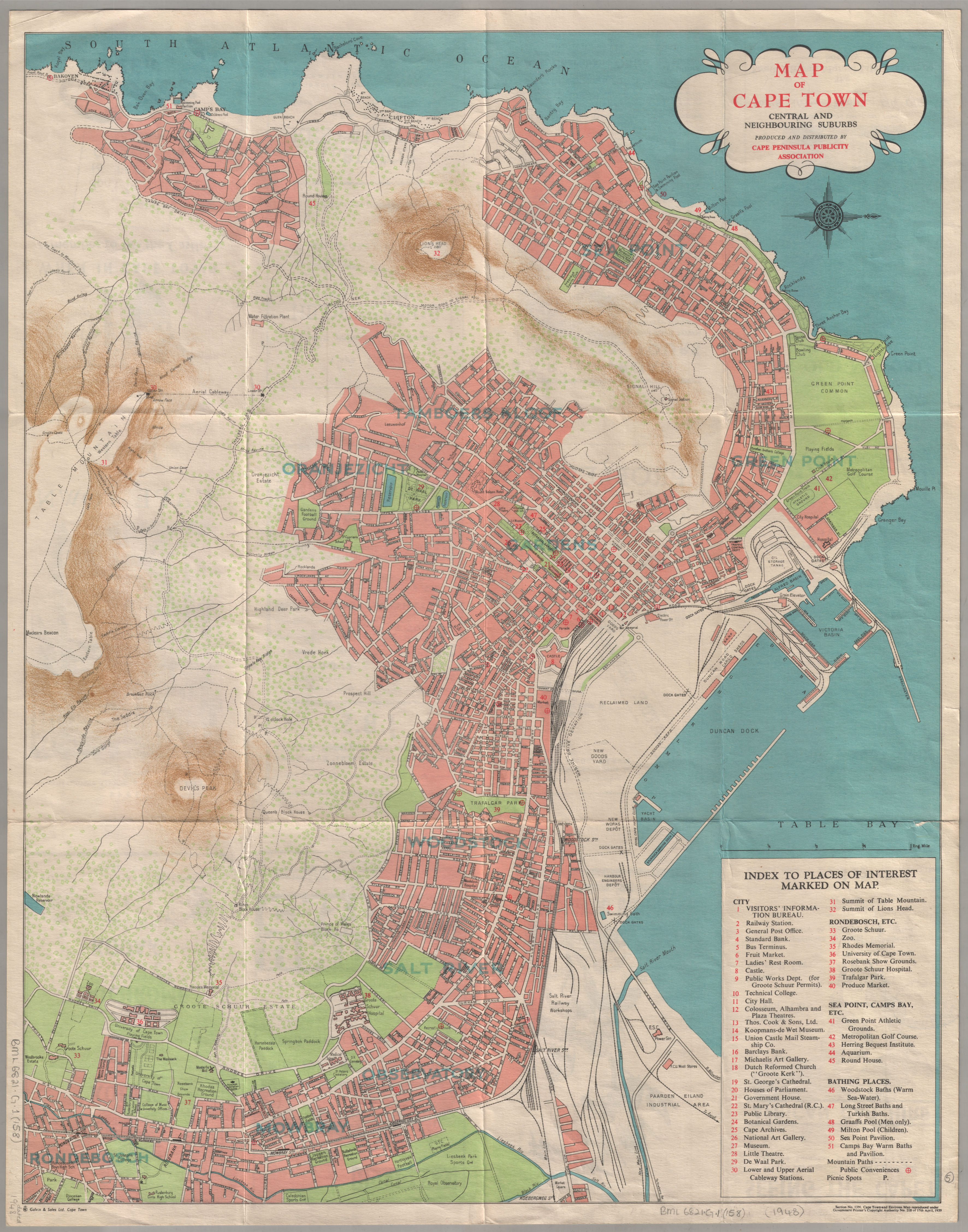 Map of Cape Town central and neighbouring suburbs | UCT Libraries ...