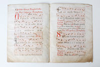 Mediaeval liturgical music notation on parchment
