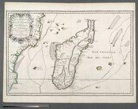 Carte de l'Isle Madagascar dite autrement Madecase et de S. Laurens et aujord'hui L'Isle Dauphine avecque les costes de Cofala et du Mozambique en Afrique