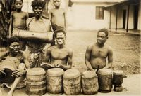 Another Sena band playing fulula at Mopea. Note how the second drum on the right has been mended.