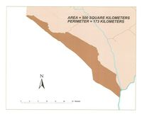 [Map of a section of the Kgalagadi Transfrontier Park]