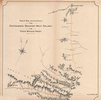 Sketch map showing route for Oudtshoorn, Beaufort West Railway vîa Tover Waters Poort