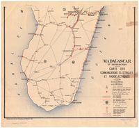 Madagascar et Dependaces. Carte des communications electriques et radioelectriques