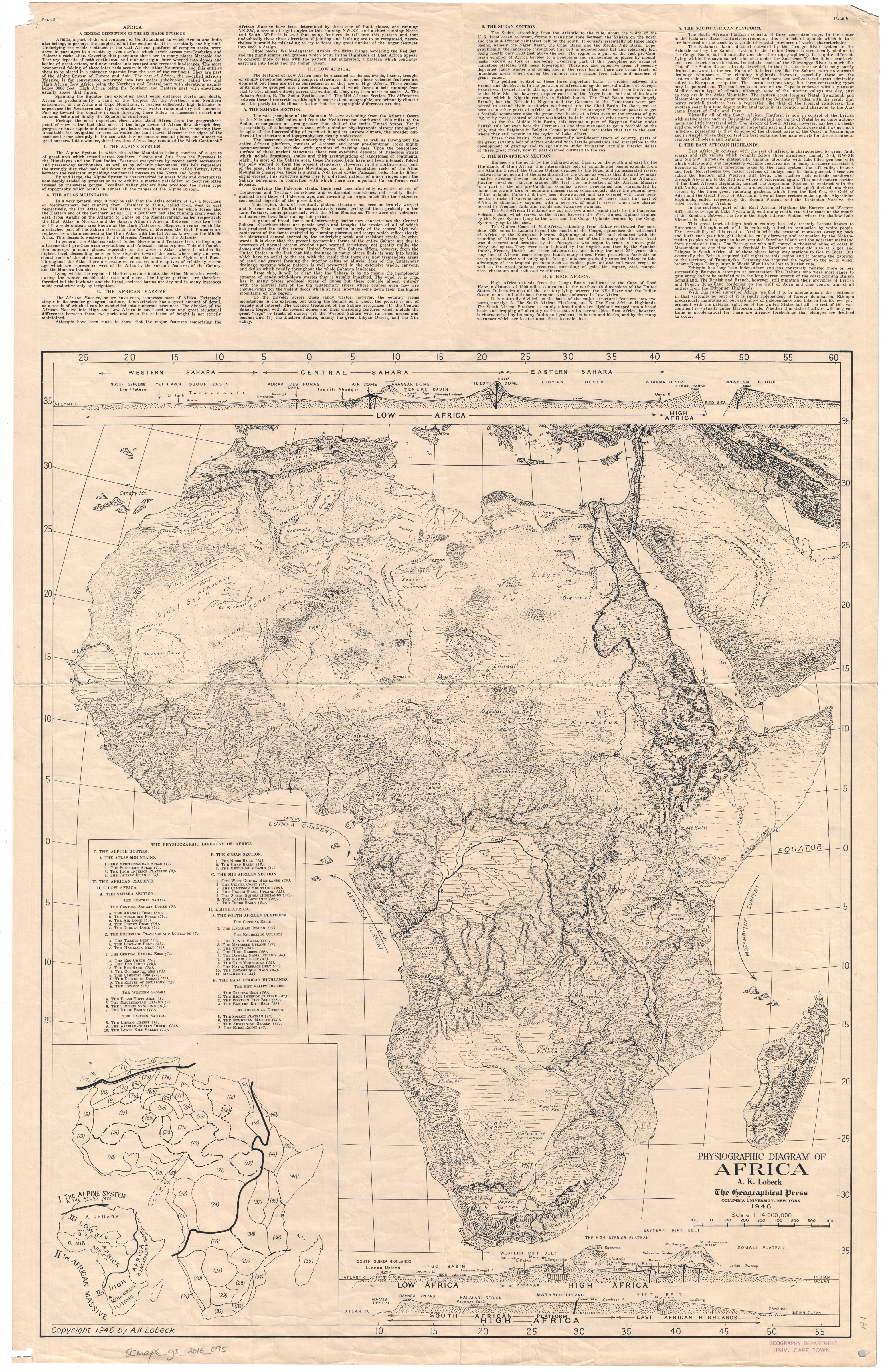Physiographic Diagram of Africa | UCT Libraries Digital Collections