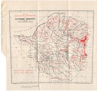 Map of mean annual temperature of Southern Rhodesia