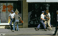 Media being arrested by apartheid police, Cape Town, South Africa