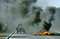 Burning barricades, Cape Town, South Africa