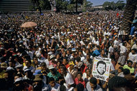Crowd awaiting Mandela's release, Cape Town, South Africa