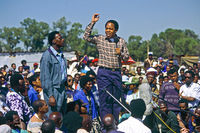 Chris Hani promoting peace at first democratic elections, Johannesburg, South Africa