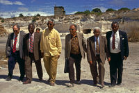 Mandela returns to Robben Island with fellow Rivonia treason trialists, South Africa