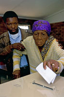 Pensioner votes for first time in her life, Soweto, South Africa