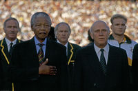 First rugby game after apartheid sanctions were lifted, Pretoria, South Africa