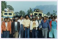"""Crossroads - 6 Sash members marched with parents demanding re-admission to Sebenza High School for their children who had been excluded on the basis of """"""""late [crowds?] in mornings. Monday 25/09/89"""""""""""