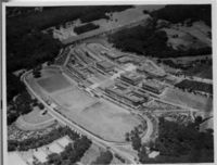 Aerial view wide shot including Jameson Hall and rugby fields