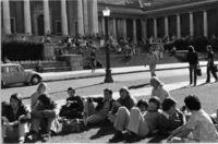 Students sitting around Jameson Steps