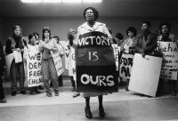 Albertina Sisulu briefs protestors, Johannesburg, 1984